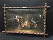 Sale 9050 - Lot 2093 - Artist Unknown, Family by the Cooking Pot, oil on canvas, frame: 83 x 120 cm, nvm