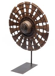 Sale 9080J - Lot 195 - An antique Indonesian spinning wheel or Charkha mounted on a cast iron frame, height 70cm