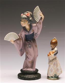 Sale 9128 - Lot 5 - Lladro figure of a woman holding fans (H:30cm) together with another of a girl holding oranges (H:17cm)