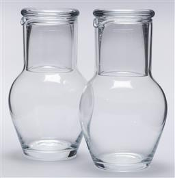 Sale 9099 - Lot 183 - A pair of water carafes with tumblers. Height 20cm