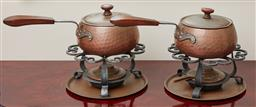 Sale 9099 - Lot 287 - A pair of copper fondues with burners and stands