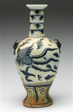 Sale 9190 - Lot 31 - A blue and white Chinese ceramic vase with twin handles (H:40.5cm)