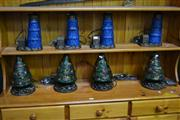 Sale 8031 - Lot 1017 - 4 Light House Figure Table Lamps w 4 Christmas Tree Figure Table Lamps