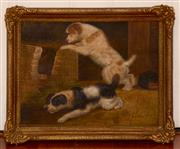 Sale 8107B - Lot 65 - British School ' Terriers' oil on board, signed lower right  Size: 38 x 51 cm