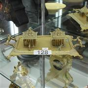 Sale 8351 - Lot 30 - Brass Desk Set with 2 Ink Wells