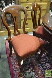 Sale 8359 - Lot 1017 - Good Set of Six Victorian Mahogany Dining Chairs, the balloon backs with pierced splats, orange drop-in seats & cabriole legs