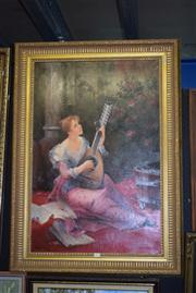 Sale 8410T - Lot 2040 - D. Hawkins - Woman Playing Lute 90 x 60vm