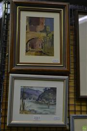 Sale 8563T - Lot 2213 - (2 works) Joan Prince The Archway, Tuscany, oil on canvas on board, 31 x 25cm, signed lower right; a Watercolour by Molly Garland