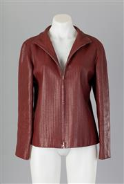 Sale 8661F - Lot 65 - A Loewe burgundy leather jacket with vertical stitched detailing, size 42