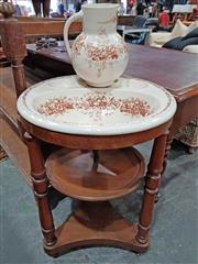 Sale 8956 - Lot 1060 - Late 19th Century Walnut Washstand, with brown floral transfer printed ceramic bowl with receptacles & plumbing, on turned support...