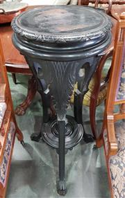 Sale 8993 - Lot 1011 - Late 19th/ Early 20th Century Ebonised Timber Pedestal, on acanthus capped cabriole legs, joined by a shelf with centre finial (H:10...