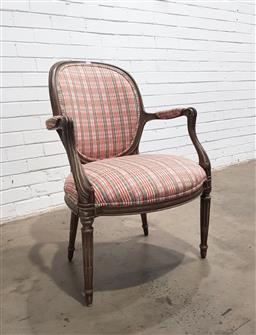 Sale 9142 - Lot 1041 - Louis XVI Style Grey Painted Armchair, in a red, green and cream tartan style fabric, raised on turned legs (H: 91 x W: 62 x D: 62 cm)