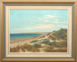 Sale 9150J - Lot 91 - JAMES ASHTON (1859 - 1935) Figures at Beach oil on canvas 44 x 60 cm signed lower right