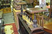 Sale 8165 - Lot 1028 - Pair of Low Side Tables w Single Carved Pedestal
