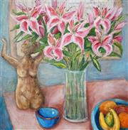 Sale 8511A - Lot 5073 - Stanley Perl (1942 - ) - Flowers and Sculpture 76 x 76cm