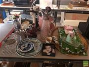 Sale 8548 - Lot 2234 - Collection of Sundries incl. Claret Jug, Oriental Figures, Crystal Wares, Piggie Bank, Trays, Long Neck Busts, etc