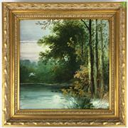 Sale 8589R - Lot 22 - Handpainted Tile Depicting Picturesque Nature Scene Signed W. Yala (Frame: 23 x 23cm)