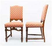 Sale 8660A - Lot 88 - A set of eight French oak antique chairs C: 1910 The pad backs and seats upholstered in diamond pattern pink and cream tapestry rais...