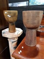 Sale 8826 - Lot 1010 - Pair of Graduated Timber Urns