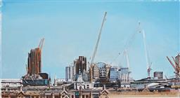 Sale 9170 - Lot 587 - JOHN EARLE (1955 - ) London Skyline pen and ink with acrylic gouache (unframed) 17 x 30.5 cm signed lower right