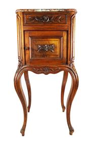 Sale 8888H - Lot 10 - Antique French walnut with rouge marble bed side cabinet 94 x 38 x 42 cm
