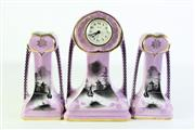 Sale 8890T - Lot 54 - A Hand Painted English Made Porcelain Clock Together with A Pair of Matching Vases (Height Of Middle Clock 24cm)