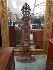 Sale 8917 - Lot 1095 - Victorian Style Cast Iron Halltree, with floral design & roundel