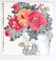 Sale 8980S - Lot 641 - Chinese work on paper featuring flowers together with another