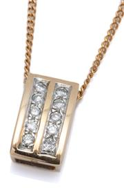 Sale 9020 - Lot 335 - A 9CT GOLD DIAMOND PENDANT NECKLACE; 14.2 x 8mm  curved pendant set with 10 round brilliant cut diamonds totalling approx. 0.25ct ar...