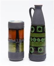 Sale 9040 - Lot 1 - A West German Bottle Vase Together (H 26cm) with A Cylindrical Example (H 18cm)