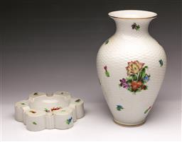 Sale 9098 - Lot 281 - Herend Floral themed ceramic vase (H23cm) together with an ashtray (Dia15cm)