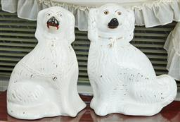 Sale 9103M - Lot 527 - Two early Staffordshire dog figures, some crack lines, Height 33cm