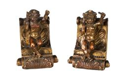 Sale 9123J - Lot 164 - A pair of antique Italian carved timber polychrome cherub bookends. Some small losses. Ht: 20 cm