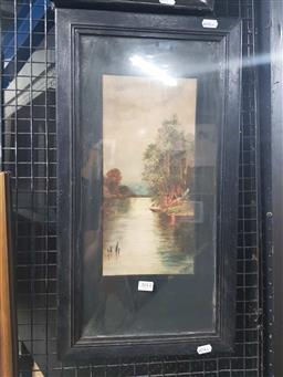 Sale 9159 - Lot 2011 - Ilo Frewin, Camp by the river, 1922, watercolour, frame 57 x 31, signed and dated lower right. -