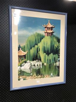 Sale 9176 - Lot 2172A - Framed print of Chinese garden (h77 x w61cm)