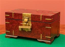 Sale 9260M - Lot 31 - An Oriental jewellery box with brass fittings and floating box to interior H 15cm W 29cm D 17cm