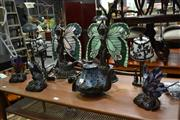 Sale 8147 - Lot 1038 - Collection of 8 Leadlight Shade Table Lamps Depicting Fairies, Butterflies etc