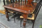 Sale 8282 - Lot 1023 - Late Victorian Walnut Extension Dining Table, with single leaf, on turned reeded legs