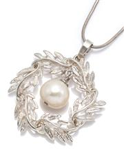 Sale 9066 - Lot 323 - A SILVER PEARL PENDANT NECKLACE; garland pendant set with an articulating 13.3mm round cultured pearl, length 50mm on a serpent chai...