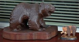 Sale 9103M - Lot 528 - A composite bear figure on timber base, Length 31cm, together with another