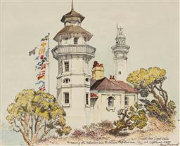 Sale 9125A - Lot 5079 - Cedric Emanuel (1806 - 1995) - Morning After Australia II won the America Cup, South Head Lighthouse, 1983 36 x 44 cm (frame: 46 x...