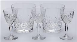Sale 9099 - Lot 201 - Pair of stuart crystal tumblers together with a trio of orrefors crystal liqueur glasses, Height if glasses 15cm