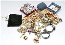Sale 9164 - Lot 419 - Costume Jewellery incl Gem set, Biwa Cultured Pearls and Pocket watches