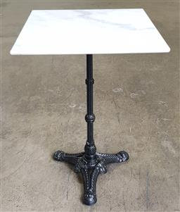 Sale 9188 - Lot 1560 - Square marble top table on metal base (h:75 w:50 d:50cm)