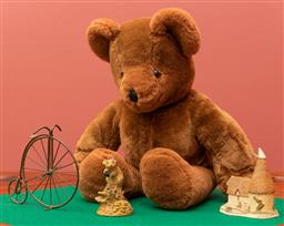 Sale 9260M - Lot 32 - A Cub Canabearal teddy bear (H 35cm) together with a John Hine ceramic house, an Aynsley hand painted mouse and a penny farthing min...