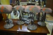 Sale 8031 - Lot 1097 - Set of 4 Glass Shade Bankers Lamps