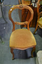 Sale 8087 - Lot 1033 - Set of 6 Victorian Walnut Balloon Back Chairs on Cabriole Legs