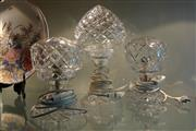 Sale 8304 - Lot 65 - Crystal Pair of Parlour Lamps (light chip to 1 globe) with Another Example (a.f.)