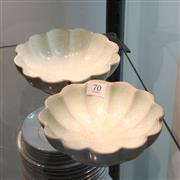Sale 8351 - Lot 70 - Crackled Glazed Shallow Bowls (Restored) 15 cm Dia (2)