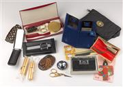 Sale 8369A - Lot 384 - A tray of grooming wares including lipstick cases and manicure sets, mirrors etc